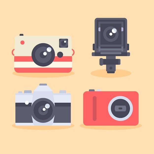 Ícones da câmara definido em estilo plano Vetor grátis