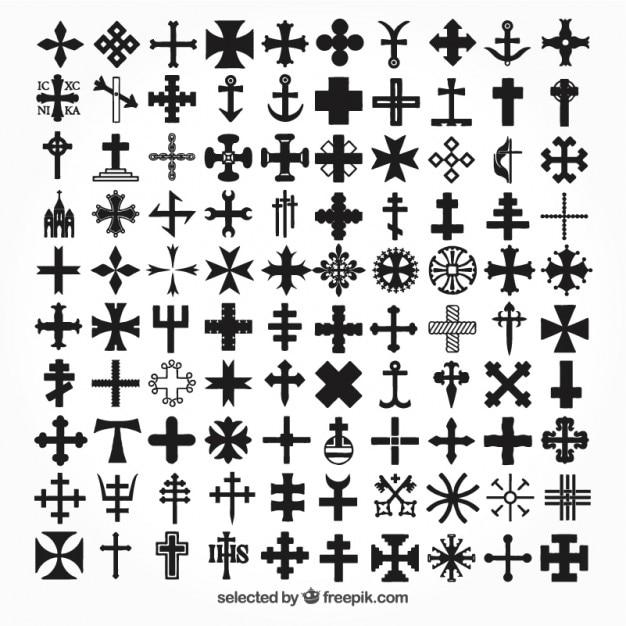 Ícones da coleção cruzes Vetor grátis