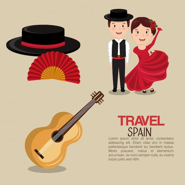 Ícones da cultura espanhola isolado ícone do design Vetor Premium