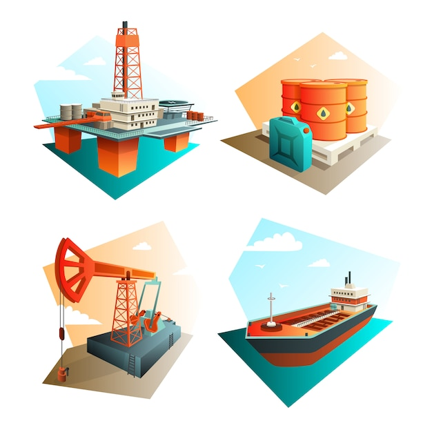 Ícones da indústria de petróleo quadrado com refino de extração e transporte de gás combustível de petróleo Vetor grátis