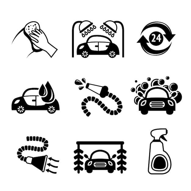 Ícones da lavagem de carro Vetor grátis