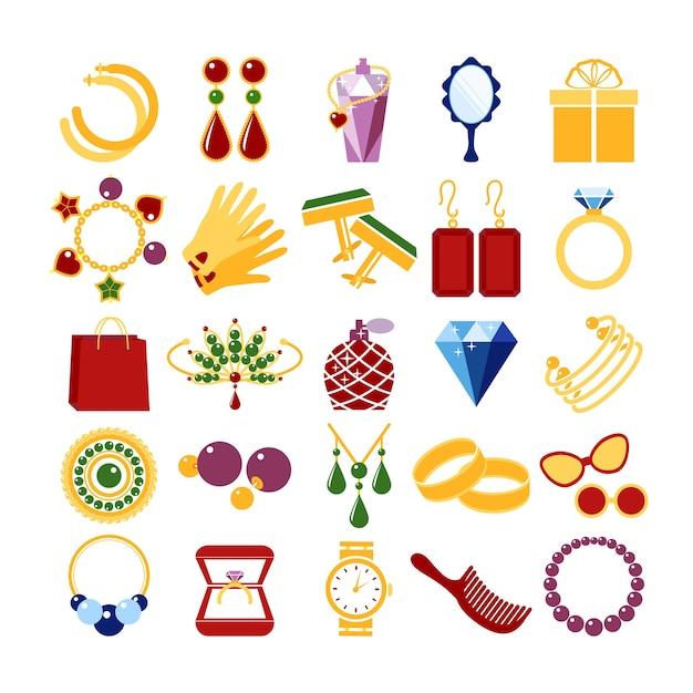 Ícones da moda de luxo. pedras preciosas e pulseira, broche e bugiganga, esmeralda e luva, ilustração vetorial Vetor grátis