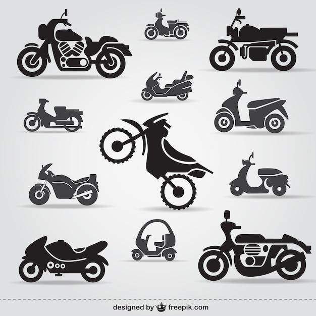 Ícones da motocicleta livre Vetor grátis