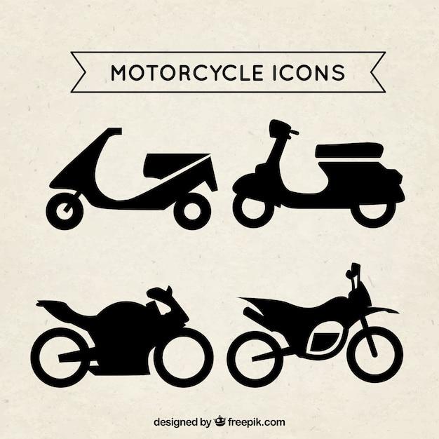 Ícones da motocicleta Vetor Premium