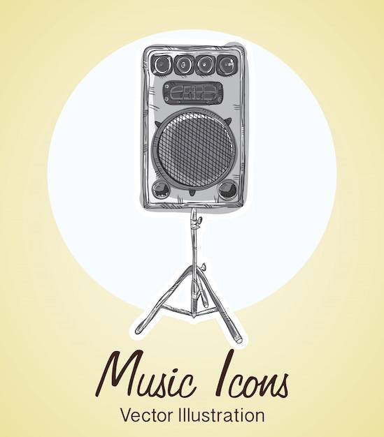 Ícones da música (objetos e elementos de instrumentos) Vetor Premium