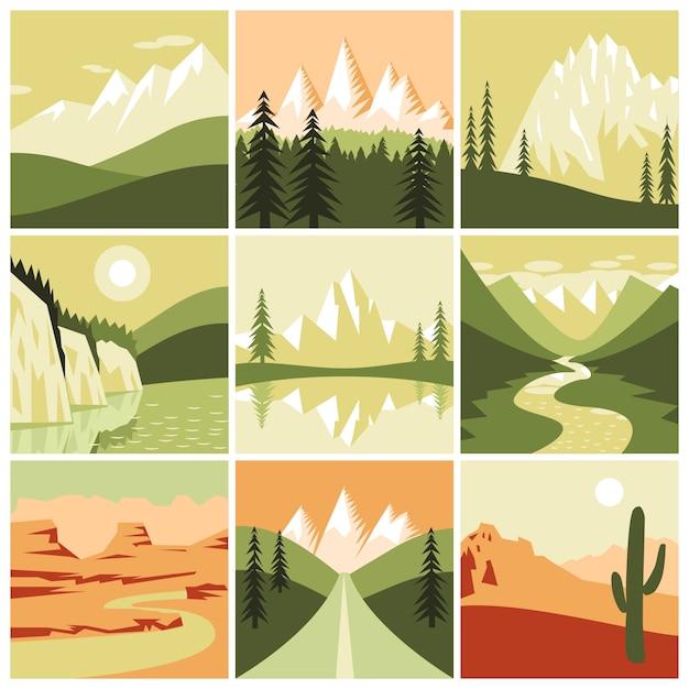 Ícones da natureza montanhosa Vetor grátis
