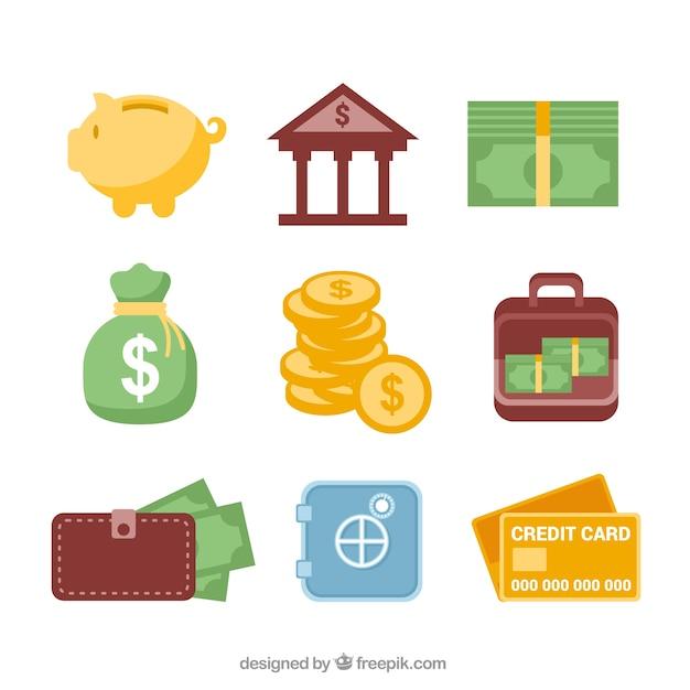 Ícones da operação bancária Vetor grátis