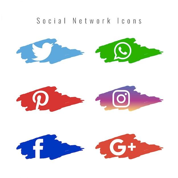 Ícones da rede social conjunto Vetor grátis