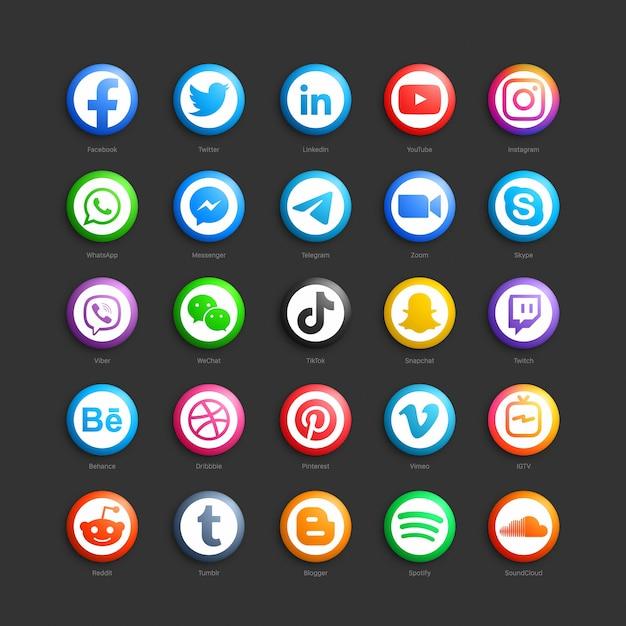 Ícones da web em 3d redondos da rede de mídia social Vetor Premium