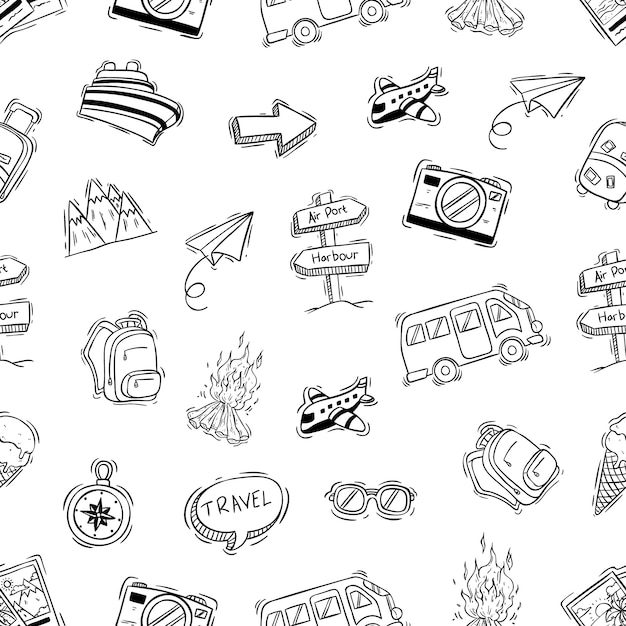Ícones de acampamento bonitos no padrão sem emenda com doodle ou mão estilo desenhado Vetor Premium