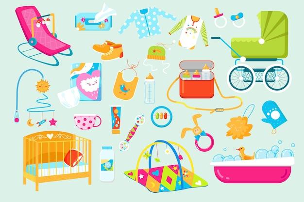 Ícones de acessórios de cuidados para bebês e recém-nascidos Vetor Premium
