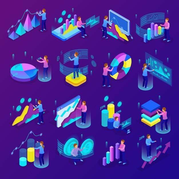 Ícones de análise de negócios brilhantes isométricos conjunto com pessoas fazendo vários gráficos e diagramas ilustração em vetor 3d isolado Vetor grátis