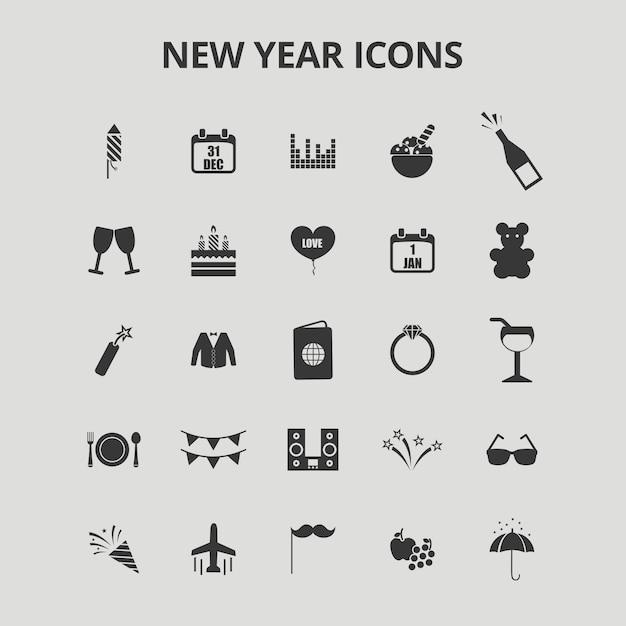 Ícones de ano novo Vetor grátis