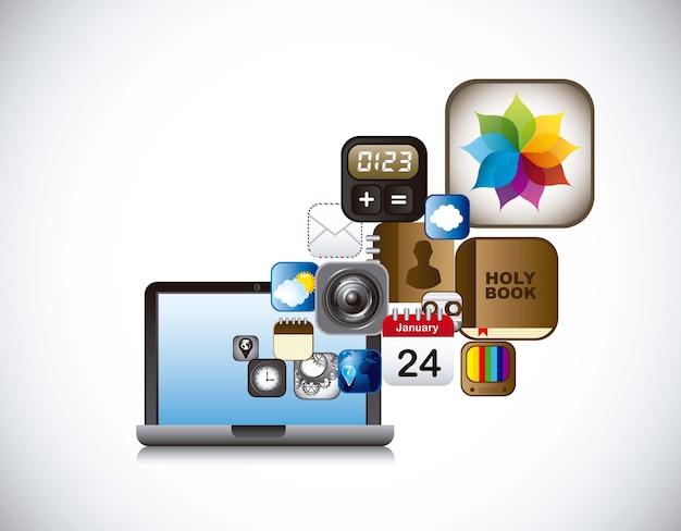 Ícones de aplicativos com laptop sobre vetor de fundo cinza Vetor Premium