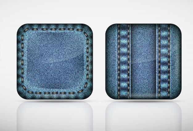 Ícones de aplicativos jeans. jeans de textura Vetor Premium