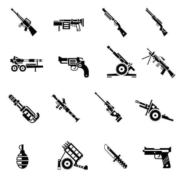 Ícones de armas pretas Vetor Premium