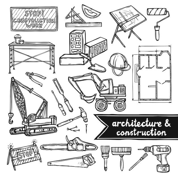 Ícones de arquitetura e construção Vetor grátis