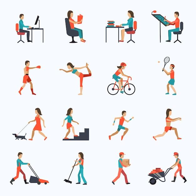 Ícones de atividade física Vetor grátis