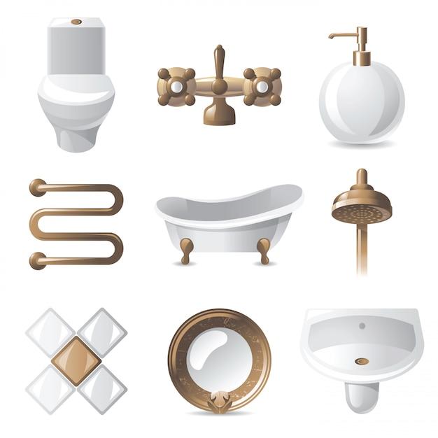 Ícones de banheiro Vetor Premium
