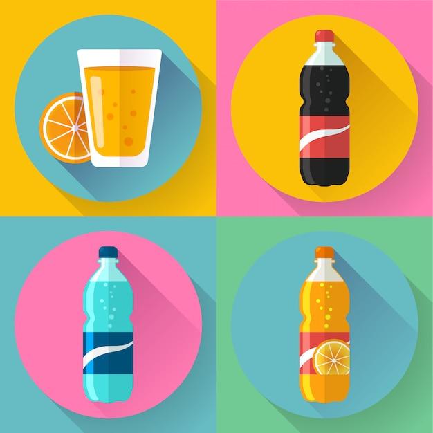 Ícones de bebida plana para web e aplicativos Vetor Premium