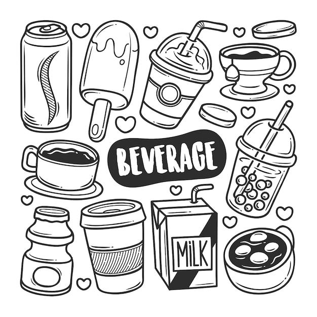 Ícones de bebidas mão desenhada doodle coloração Vetor Premium