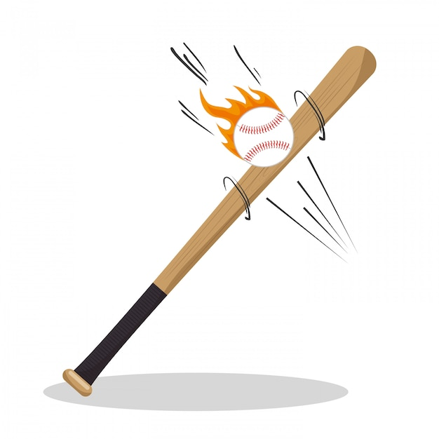 Ícones de beisebol de chama de bola de morcego dos desenhos animados Vetor grátis