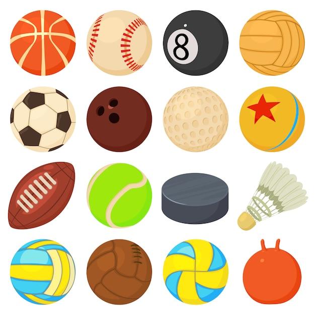 Ícones de bolas de esporte definir tipos de jogo Vetor Premium