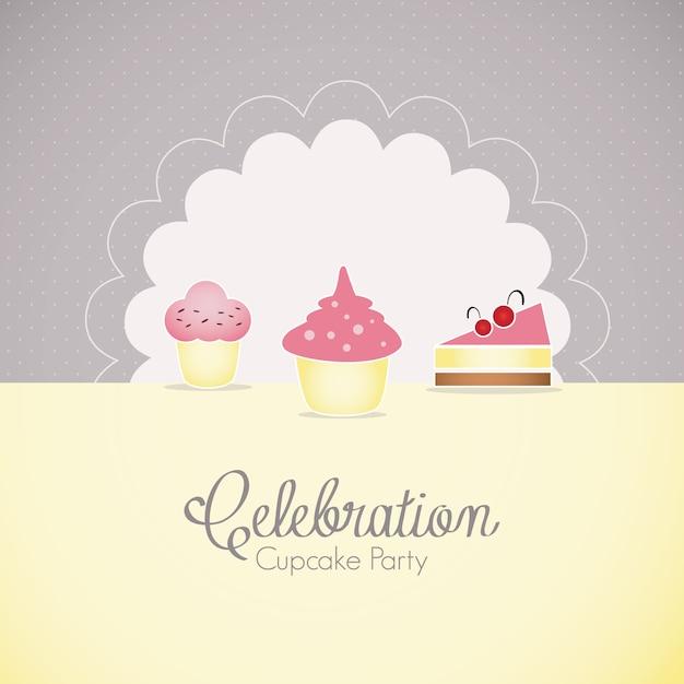 Ícones de bolo e cupcakes Vetor Premium