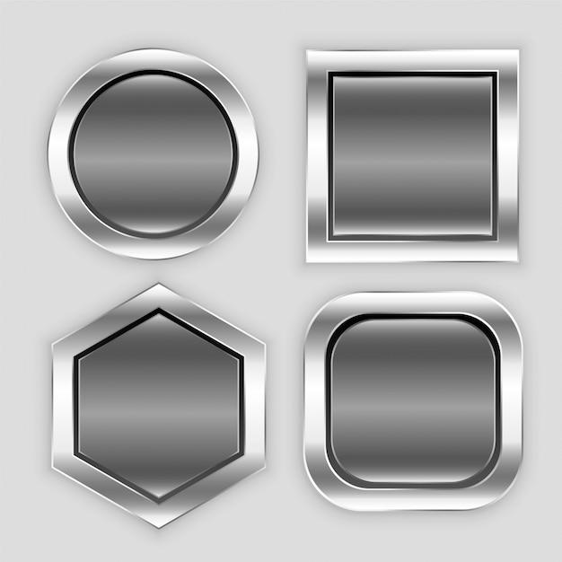 Ícones de botão brilhante em diferentes formas Vetor grátis