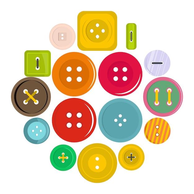 Ícones de botão de roupa definido em estilo simples Vetor Premium