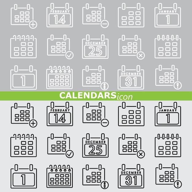 Ícones de calendários. conjunto linear. Vetor Premium