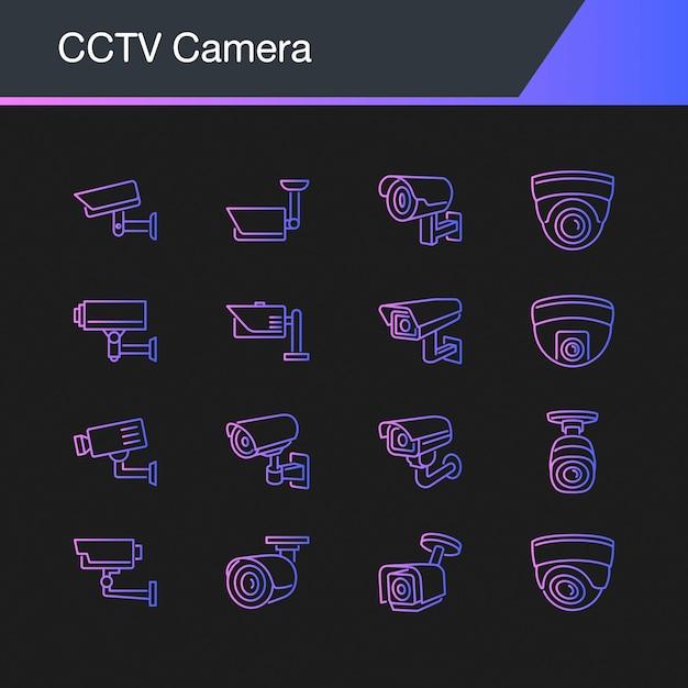 Ícones de câmera de cctv. Vetor Premium