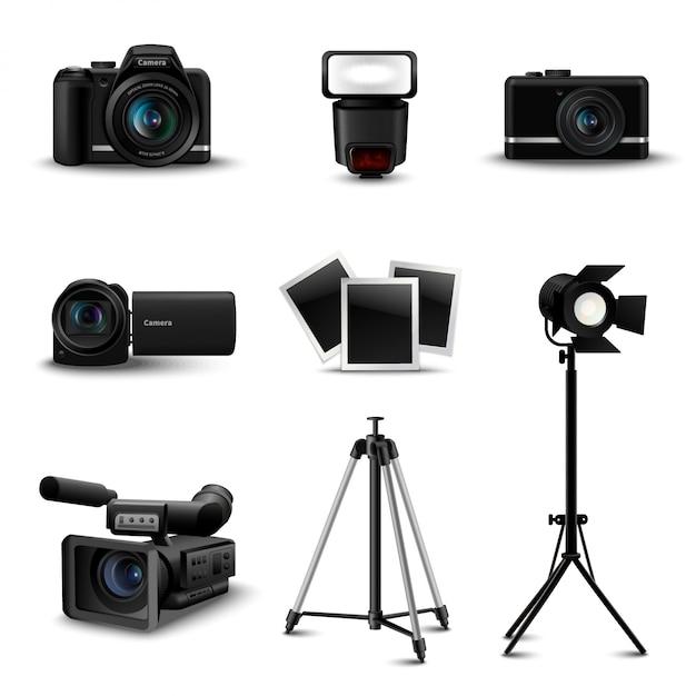 Ícones de câmera realista Vetor grátis