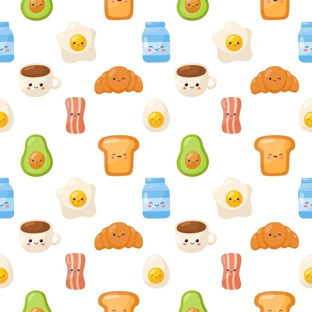 Ícones de caracteres de comida de café da manhã conjunto padrão sem emenda isolado no fundo branco. Vetor Premium