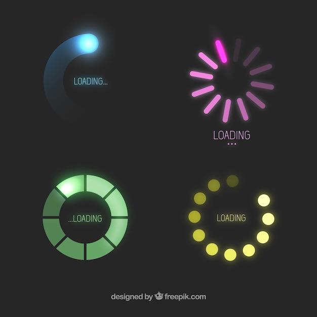 Ícones de carga coloridos Vetor Premium