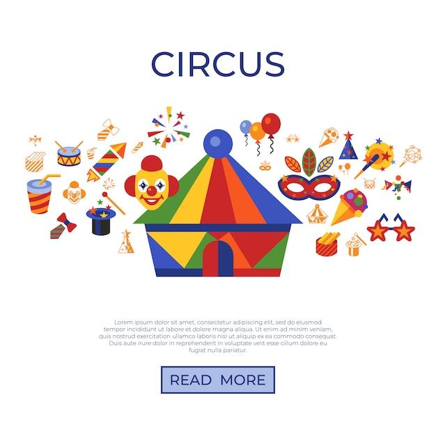 Ícones de carnaval e circo Vetor Premium