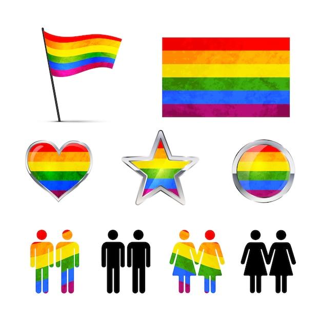 Ícones de casais gays isolados no branco Vetor Premium