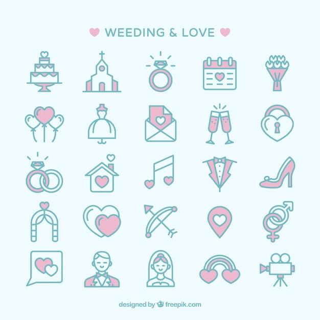Ícones de casamento e amor Vetor grátis