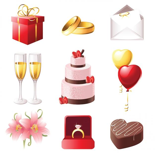 Ícones de casamento Vetor Premium