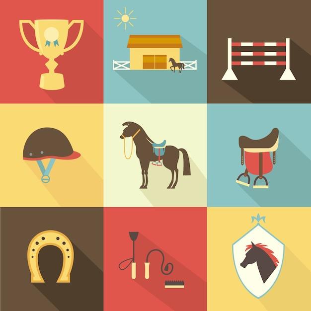 Ícones de cavalos e adestramento Vetor grátis