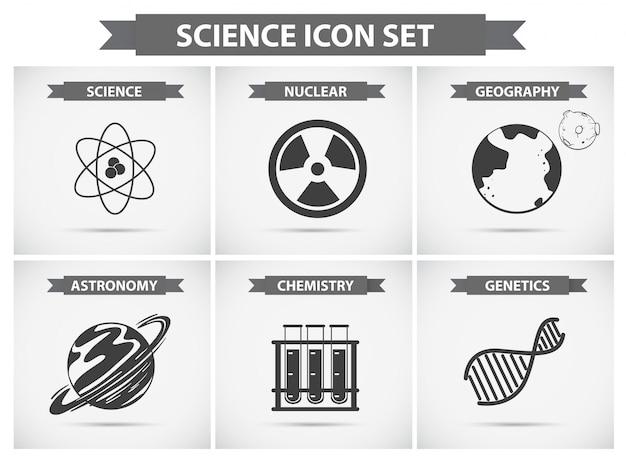 Ícones de ciência para diferentes campos de estudos Vetor grátis