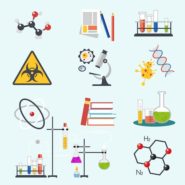 Ícones de ciência química Vetor Premium