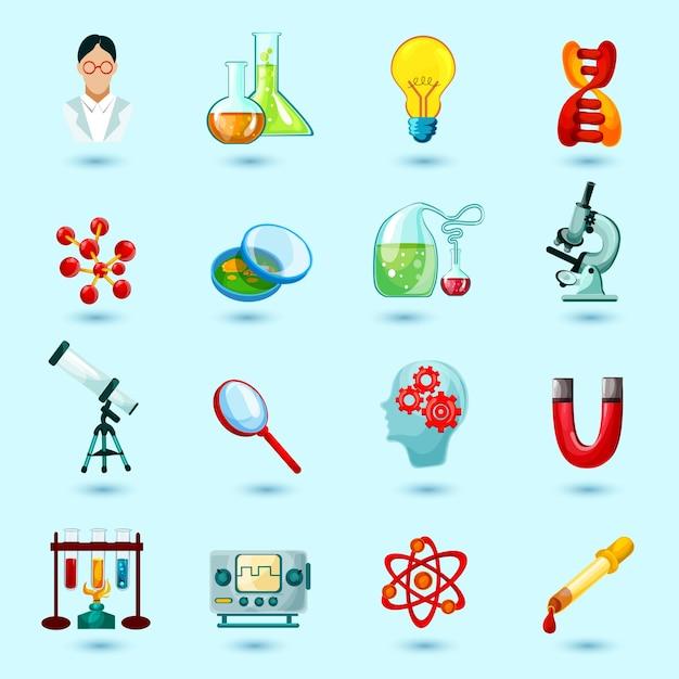 Ícones de ciência set Vetor grátis