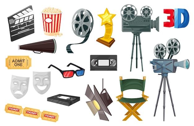 Ícones de cinema com câmera de filme Vetor Premium