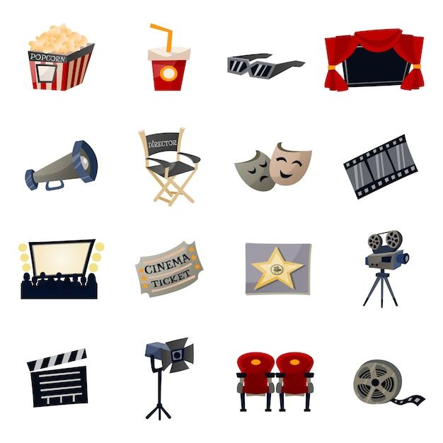 Ícones de cinema planas Vetor grátis