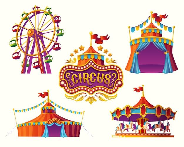 Ícones de circo de carnaval com uma barraca, carrosséis, bandeiras. Vetor Premium
