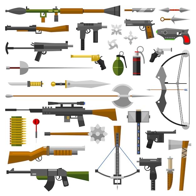 Ícones de coleção de armas de armas de vetor Vetor Premium