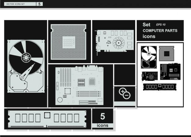 Ícones de coleção de vetores. ícones de hardware de computador. Vetor grátis