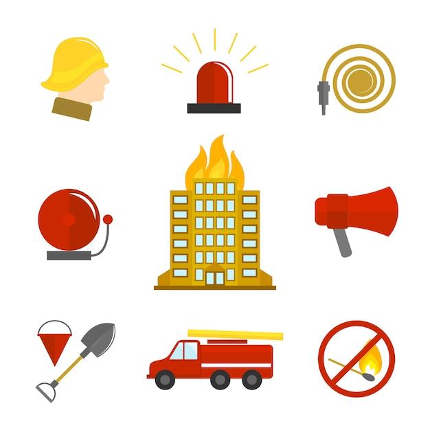 Ícones de combate a incêndios planas Vetor grátis