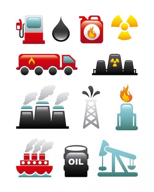 Ícones de combustível sobre ilustração vetorial de fundo branco Vetor Premium